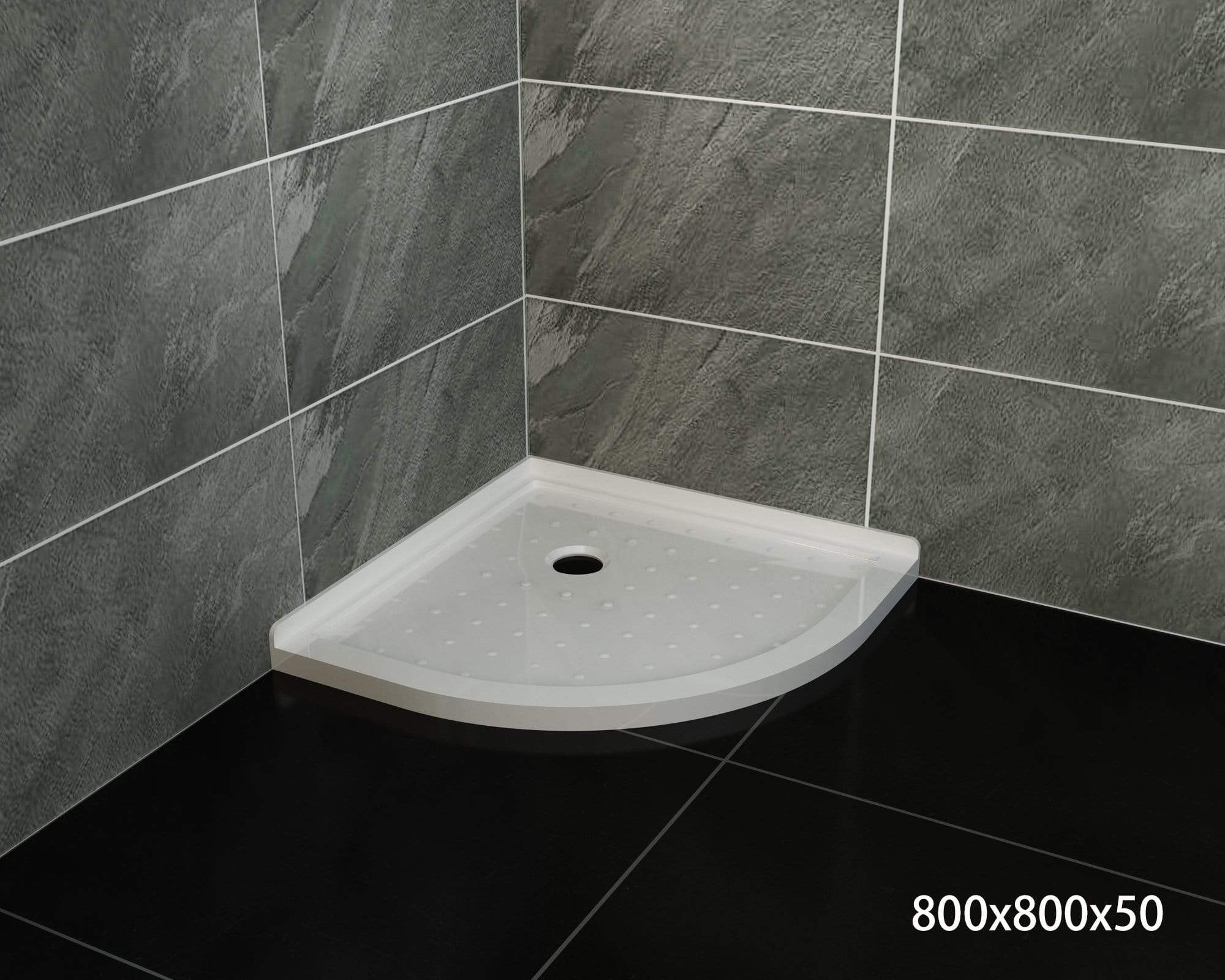 ELEGANT SHOWERS Extra Strong Acrylic Fiberglass Curved Shower Base-800x800mm - Elegantshowers