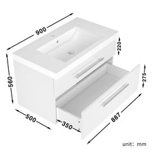 ELEGANT SHOWERS Bathroom Vanity Wall Mounted-Cabinet Storage Basin Gloss White 900x500x560mm - Elegantshowers