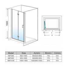 ELEGANT SHOWERS Frameless Bifold Pivot Shower Screen Door Wall to Wall Large Entry - Elegantshowers
