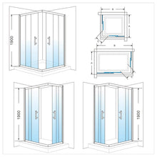 ELEGANT SHOWERS Square Corner Entry Shower Enclosure Double Door - Elegantshowers