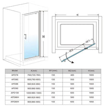 ELEGANT SHOWERS Framed Pivot Shower Screen Door Wall To Wall Fits - Elegant Showers