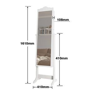 Mirror Jewellery Cabinet LED Light Makeup Storage Lockable&Adjustable White - Elegant Showers
