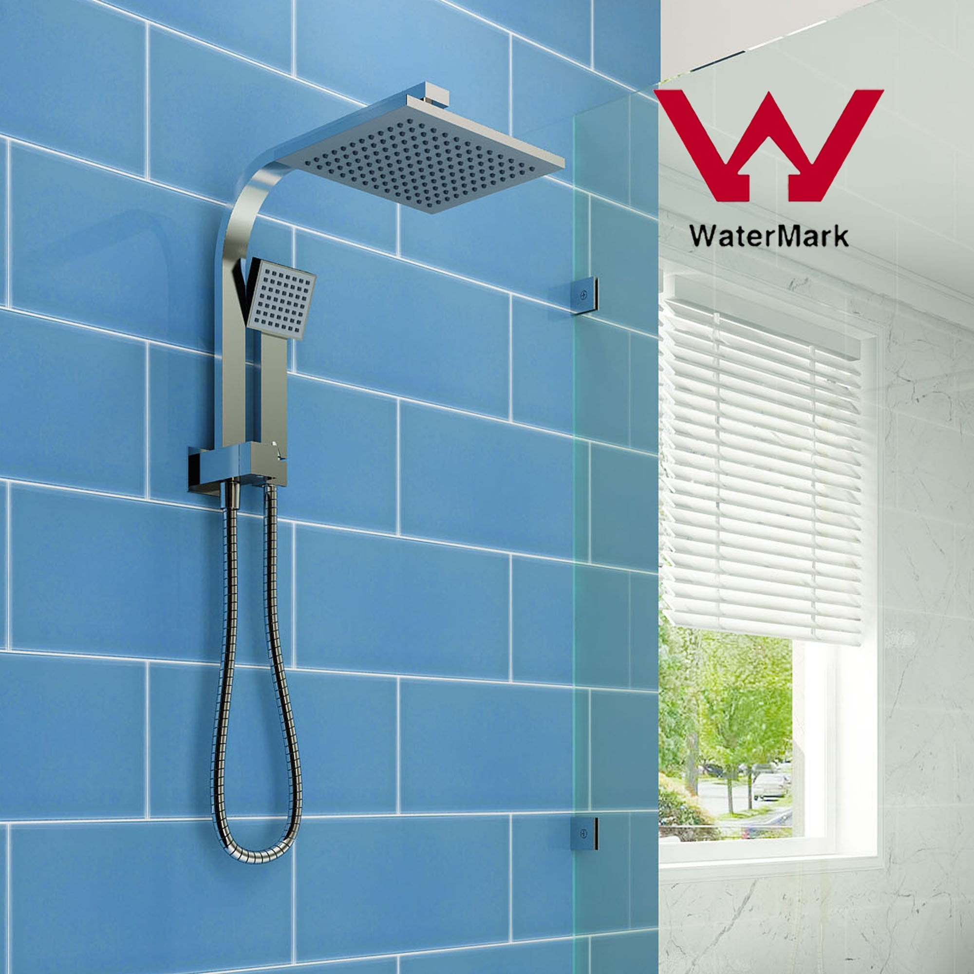 Elegant Showers Square Rainfall Shower Head Set With