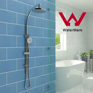 Elegant Showers Round Shower Head Set Rainfall & Handheld Spray Head Sliding Rail - Elegant Showers