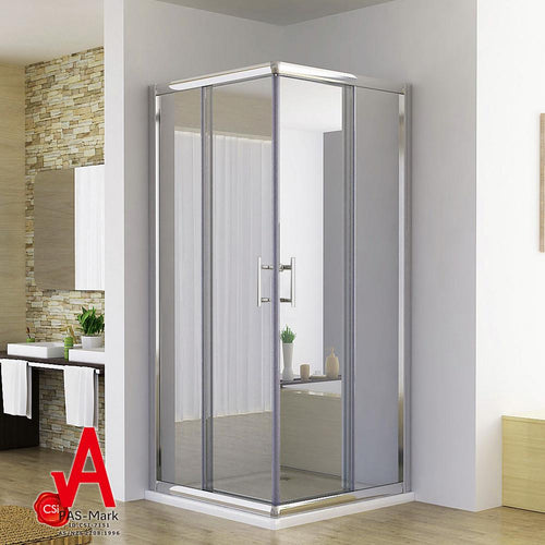 ELEGANT SHOWERS Square Corner Entry Shower Enclosure Double Door - Elegant Showers