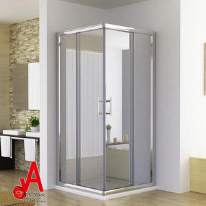 ELEGANT SHOWERS Square Corner Entry Shower Enclosrue Double Door