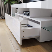 TV Cabinet Entertainment Unit Stand Gloss Furniture White Handle-free ELEGANT - Elegant Showers