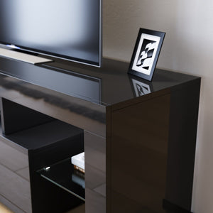 TV Cabinet Entertainment Unit Stand RGB LED Gloss Furniture Wood Storage 1300mm Black - Elegant Showers