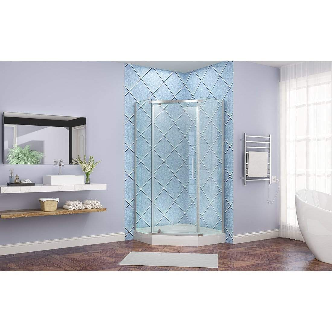ELEGANT SHOWERS Diamond Frameless Shower Screen with Brass Pivot ...