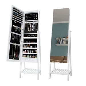 Mirror Jewellery Cabinet LED Light Makeup Storage Ear Ring Necklace MDF Fixture - Elegant Showers
