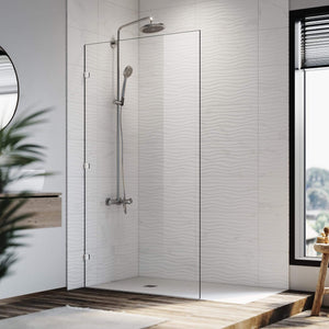 Elegant Showers Walk In Shower Frameless Screen Chrome Hardware Fixed Panel 10mm Toughened Glass - Elegant Showers