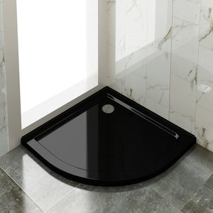 Black Curved Shower Base Tile Over Light Weight Urethane-marble-800/900/1000mm - Elegantshowers