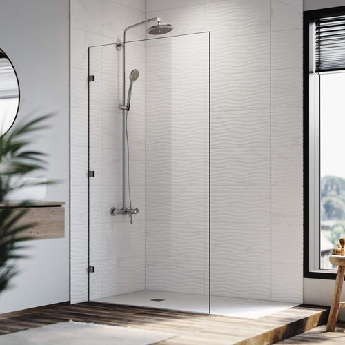Elegant Showers Walk In Shower Frameless Hinged Fixed Panel-10mm Toughened Glass - Elegant Showers