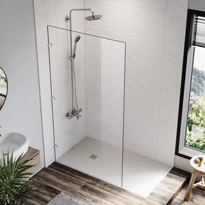 Elegant Showers Walk In Shower Frameless Screen Chrome Hardware Fixed Panel 10mm Toughened Glass - Elegantshowers