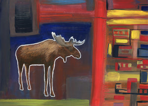 Moose in the City 5 Print 7x9