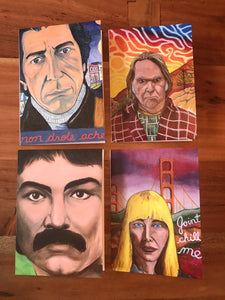 Mixed 4-pack 5x7 art cards Canadian Music portraits