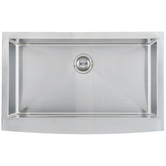 Farm Sink Stainless Steel 16G Curved Undermount Kitchen Sink