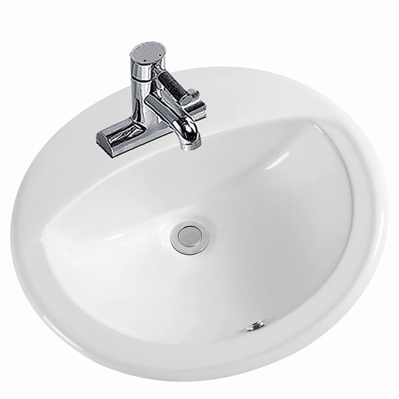 Vanity Bathroom Sink Top Mount Oval White #SK25-WH