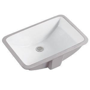 Vanity Bathroom Sink Undermount Rectangular White #SS-2254-WH