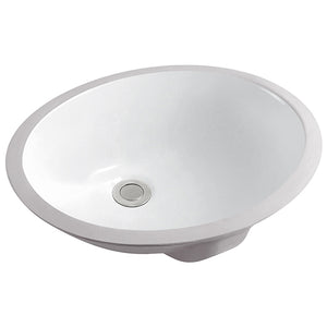 Vanity Bathroom Sink Undermount Oval White #SS-L19