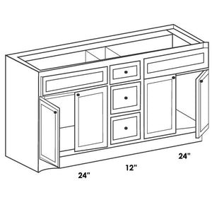 "VANITY DOUBLE SINK BASE CABINET 60"" WITH 3 CENTER DRAWERS 12""  VCD6021-3"