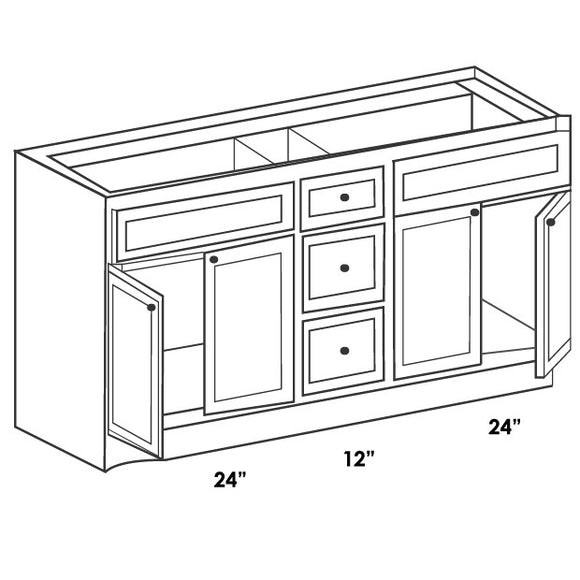 VANITY DOUBLE SINK BASE CABINET 60
