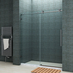 "FULLY FRAMELESS SHOWER DOOR - BP05P2-6072CB 60"" WIDE 72"" HIGH CLEAR TEMPERED GLASS, BRUSHED NICKEL"