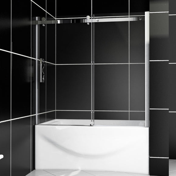 SHOWER DOOR FOR BATHTUB FRAMELESS 60