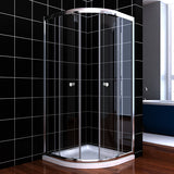 SHOWER DOOR CURVED 2 DOORS - CLEAR GLASS - CHROME - B00S01215-EQE38