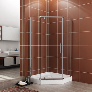 "SHOWER DOOR 3 PIECE 38"" WIDE X 38"" WIDE X 71-7/8"" HIGH X 1/4"" THICK - CLEAR GLASS, CHROME - A33S111"