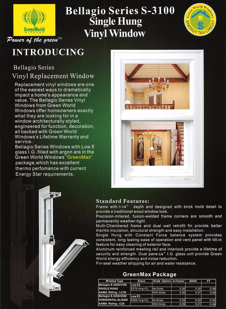 Bellagio Series S-3100 Single Hung Vinyl Window – The Home