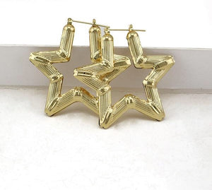 Star Big Bamboo Earrings