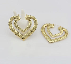 Double Heart Bamboo Earrings