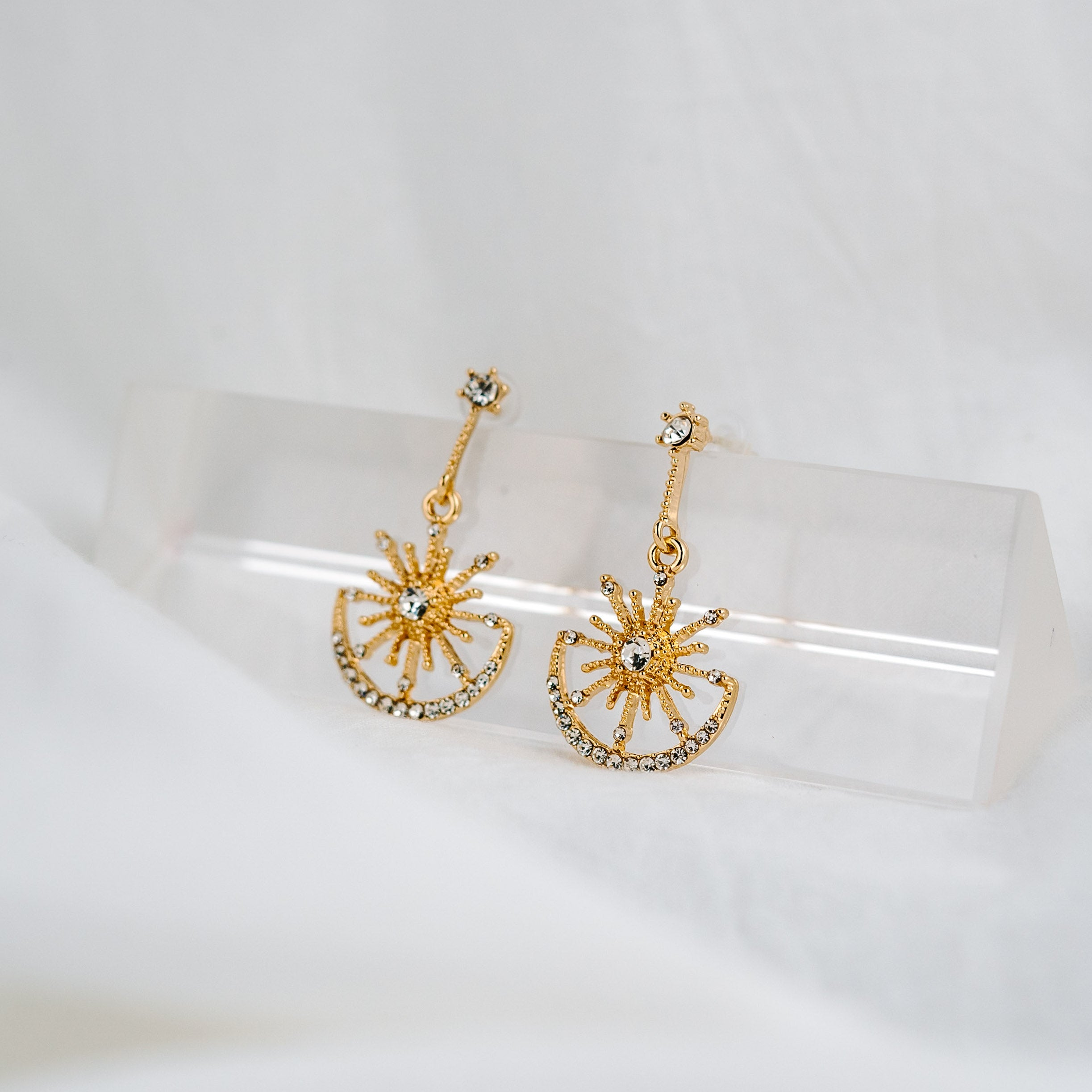 925 SILVER Zadina Celestial Earrings (Gold)