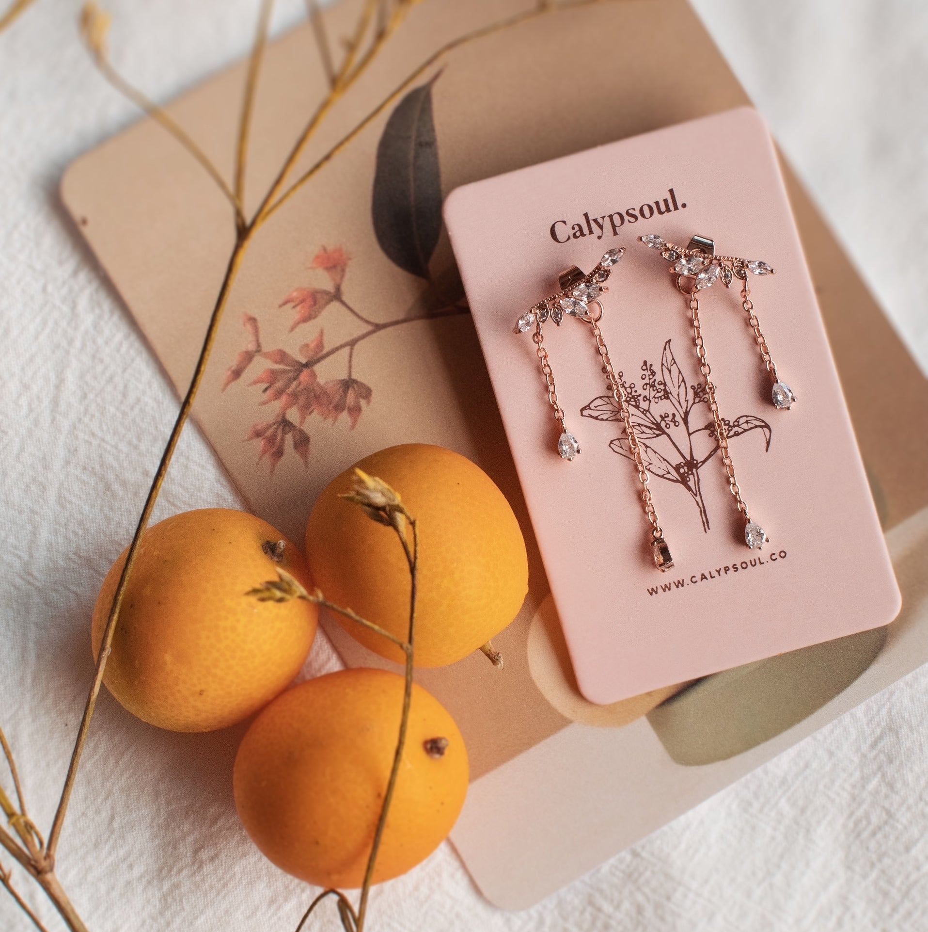 Milie Waterfall Earrings (Rose Gold)