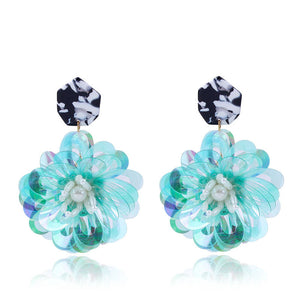 Nessa Floral Earrings (Holographic Turquoise)