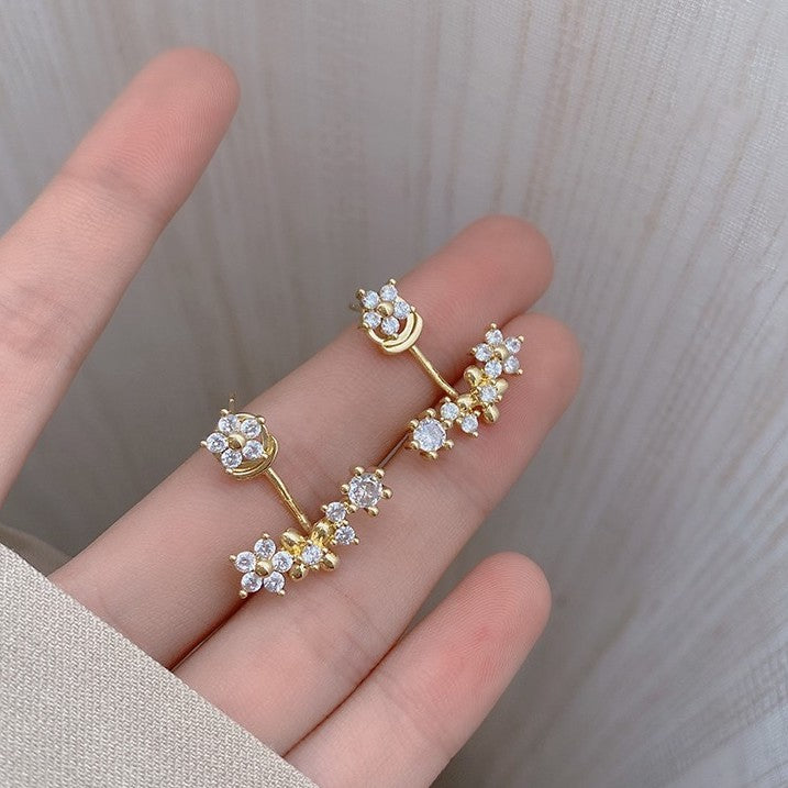 925 SILVER Camile Crystal Jacket Earrings (Studs)