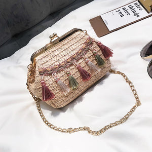 *PREORDER* Edna Tassel Sling Bag (Cream x Green)