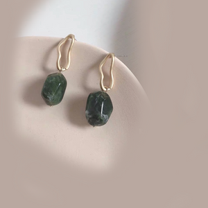 925 SILVER Neresse Earrings (Forest Green)