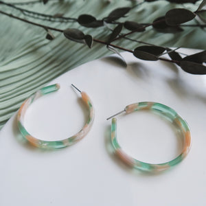 Reisin Tortoiseshell Earrings (Pink-Green)