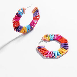 Jeryl Weaved Earrings (Rainbow)