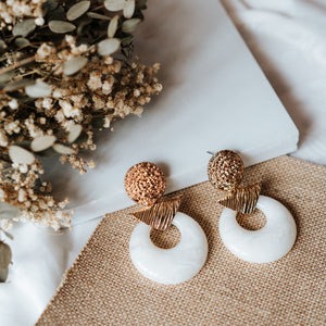 Daisy Statement Earrings (Cream)
