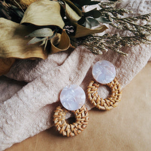 Eden Rattan Earrings (Lilac)