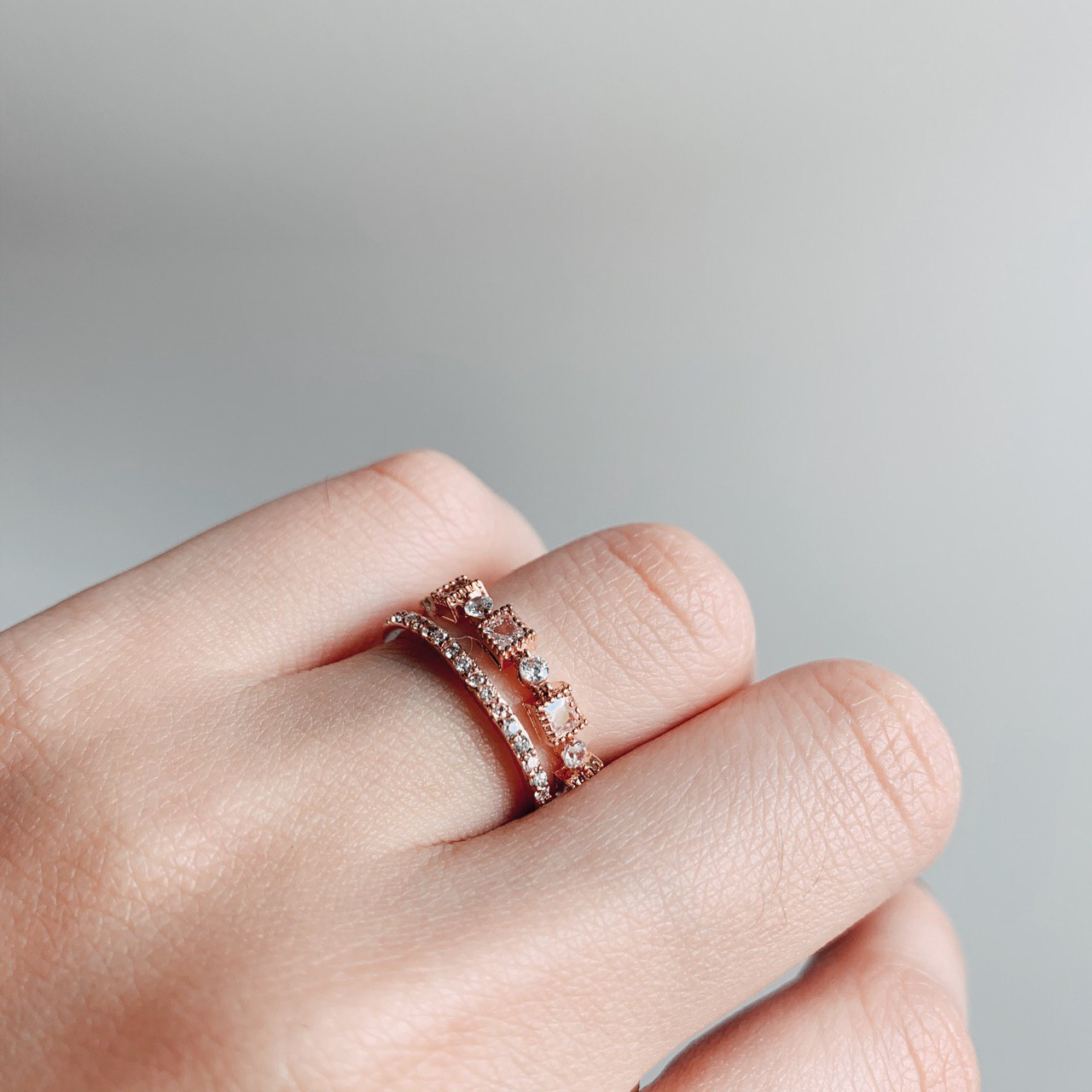 Monica Double Hooped Ring (Rose Gold)