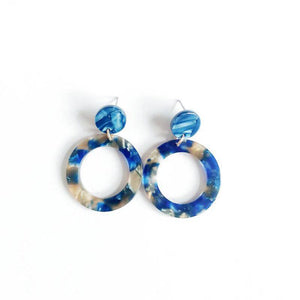 Neva Resin Earrings (Cobalt)