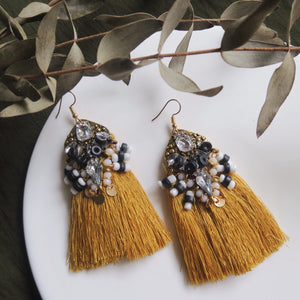 Harper Tassel Earrings (Mustard)
