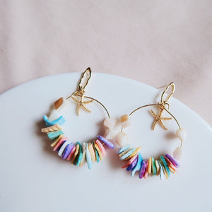 Melia Seashell Earrings (Rainbow Pastels)