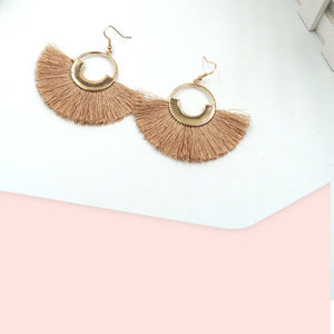 Essa Tassel Fish Hook Earrings (Nude)