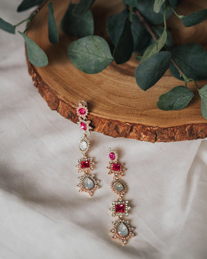 Foster Jewel Earrings (Fuschia)
