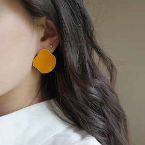 925 SILVER Lauryn Mismatched Earrings (Tangerine & Cloud)